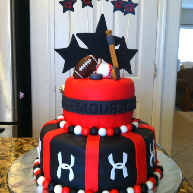 Birthday Cake Designs For 12 Year Old Boy : Under Armour cake for a 12 year old s birthday. Justin ...