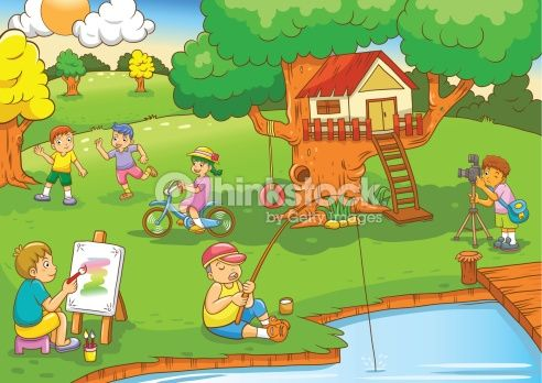 Vector Art : children playing under tree house