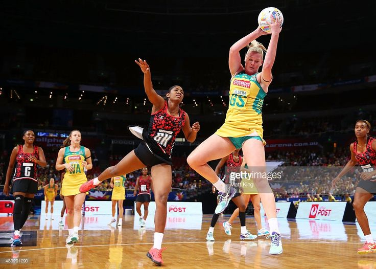 Caitlin Thwaites of the Diamonds catches the ball during the 2015 Netball World Cup match between Australia and Trinidad & Tobago at Allphones Arena on August 7, 2015 in Sydney, Australia.