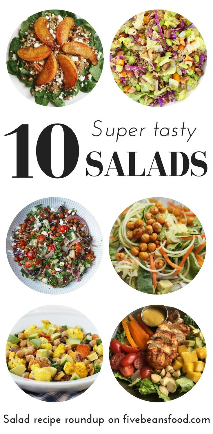 A salad recipe roundup to inspire you to make healthy and tasty salads all summer long, with healthy salad recipes, some of them gluten free and vegan