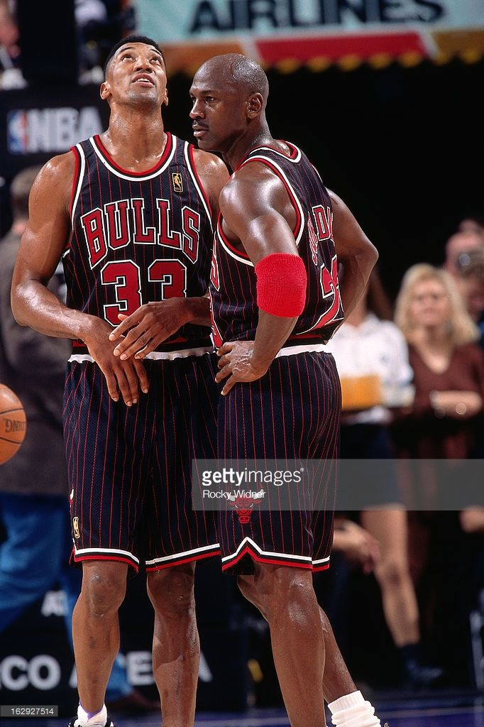 1a2f9cdd86d Michael Jordan  23 and Scottie Pippen  33 of the Chicago Bulls look on  against the Sacramento Kings during a game played on January 30