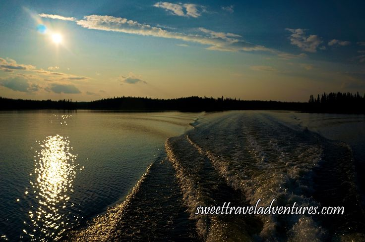 Wake From the Boat on Second Lake of the Hanging Heart Lakes in Prince Albert National Park, Saskatchewan, Canada