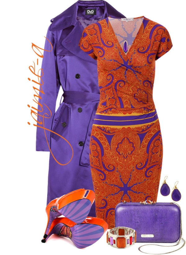 """Orange Paisley Dress"" by jaimie-a on Polyvore"