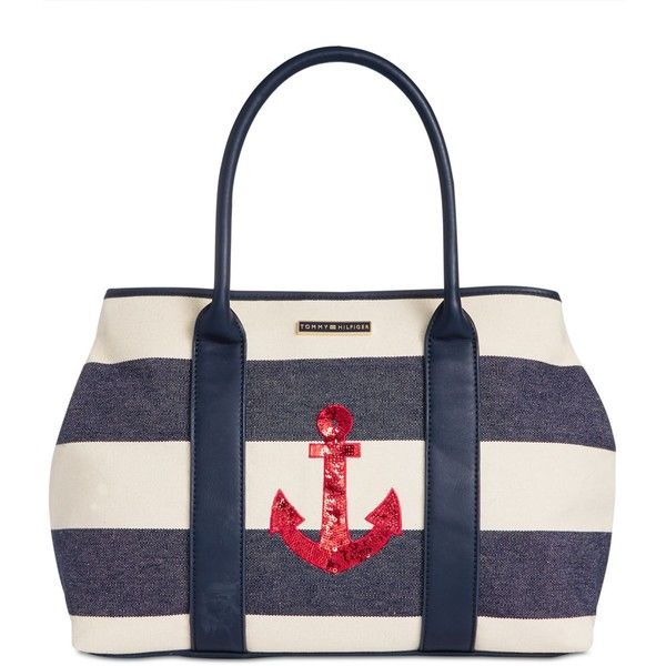 Tommy Hilfiger Aurora Embellished Woven Rugby Tote ($74) ❤ liked on Polyvore featuring bags, handbags, tote bags, canvas handbags, tommy hilfiger tote bag, canvas purse, tommy hilfiger handbags and tote handbags