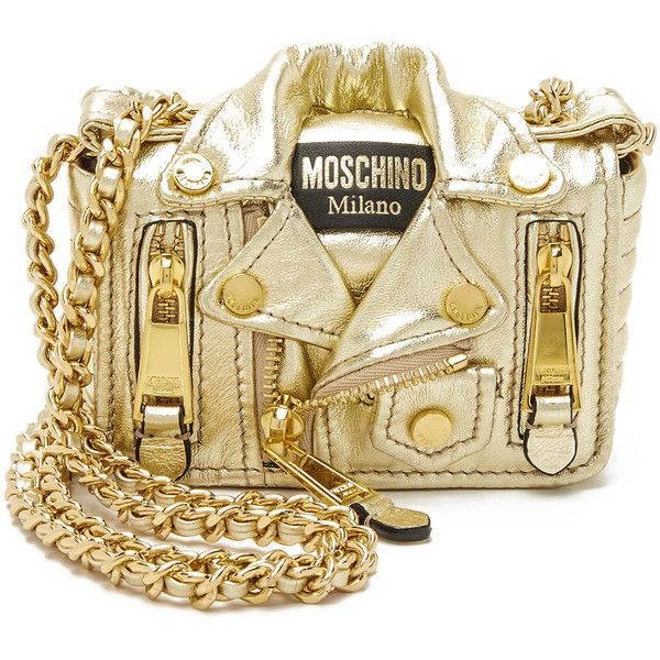 Moschino Motorcycle Bag (£910) ❤ liked on Polyvore featuring bags, handbags, shoulder bags, purses, bolsa, clutches, gold, hand bags, shoulder handbags and shoulder strap handbags