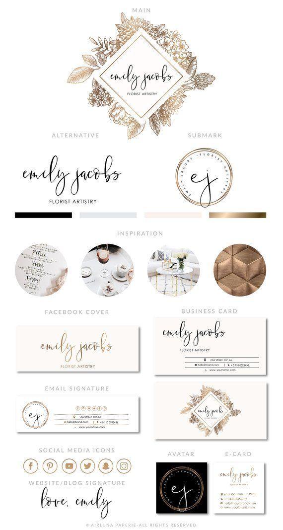 Florist Logo Design, Gold Branding Package, Premade Logo Design, Boutique Logo, Watermark stamp, Flowers, Hexagon Logo, Beauty Salon Logo