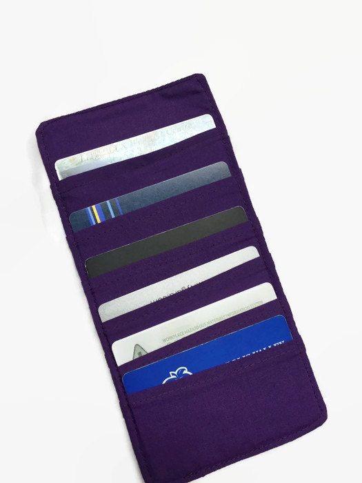 Credit Card Holder, Purple Card Holder, Business Card Holder, Loyalty Card case, Women's wallet organizer by VintageFabricFinds on Etsy https://www.etsy.com/listing/267044099/credit-card-holder-purple-card-holder