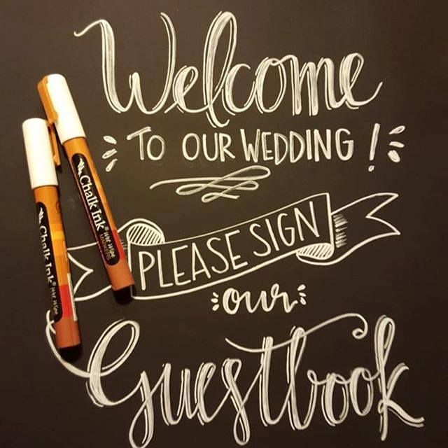 Wedding Signage on Chalkboard paper using Chalk Ink. Via Something To Chalk About!
