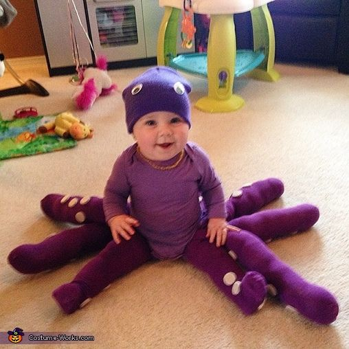Lindsay: Sophie is my 7 month old daughter. I made this Octopus costume for her. She is always happy. I love this costume on her for her first Halloween.