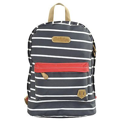 BRAKEBURN STRIPE BACK PACK NAVY ZIP UP RUCKSACK BAG WITH LAPTOP SLEEVE NEW