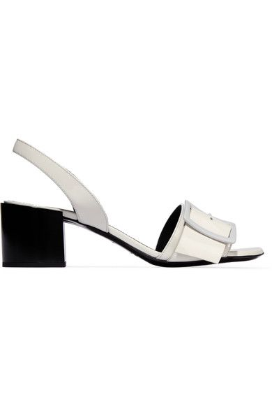 Jil Sander - Buckled Patent-leather Sandals - Off-white - IT40.5