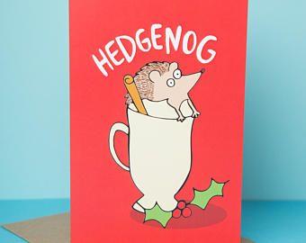 Hedgenog - Greeting Card - hedgehog Christmas card - Pun card - Katie Abey - funny Xmas card - eggnog - cute animal Christmas card