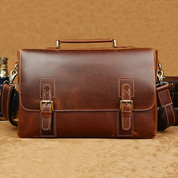 "Vintage Top Grade Cow Leather Messenger Briefcase 14"" Laptop 15"" Macbook Ipad Case--FREE SHIPPING"
