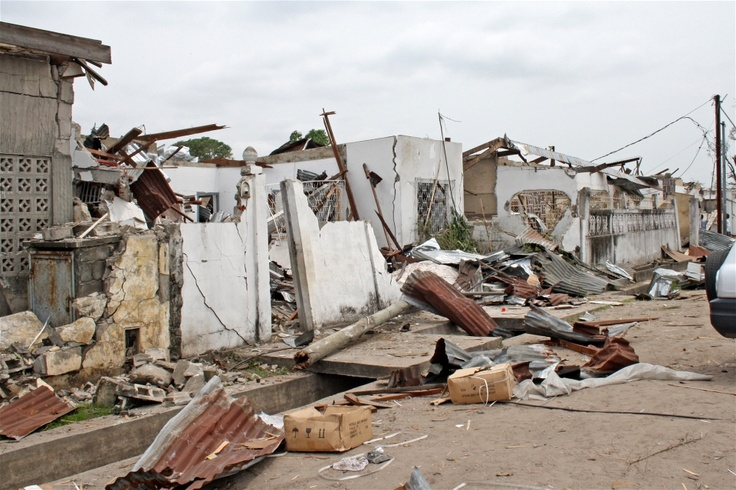 Extensive damage was caused to residential areas of Brazzaville when munitions at an army barracks blew up on 4 March 2012