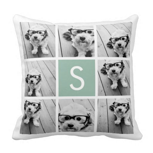 Photo Collage Custom Monogram Mint Green Throw Pillow
