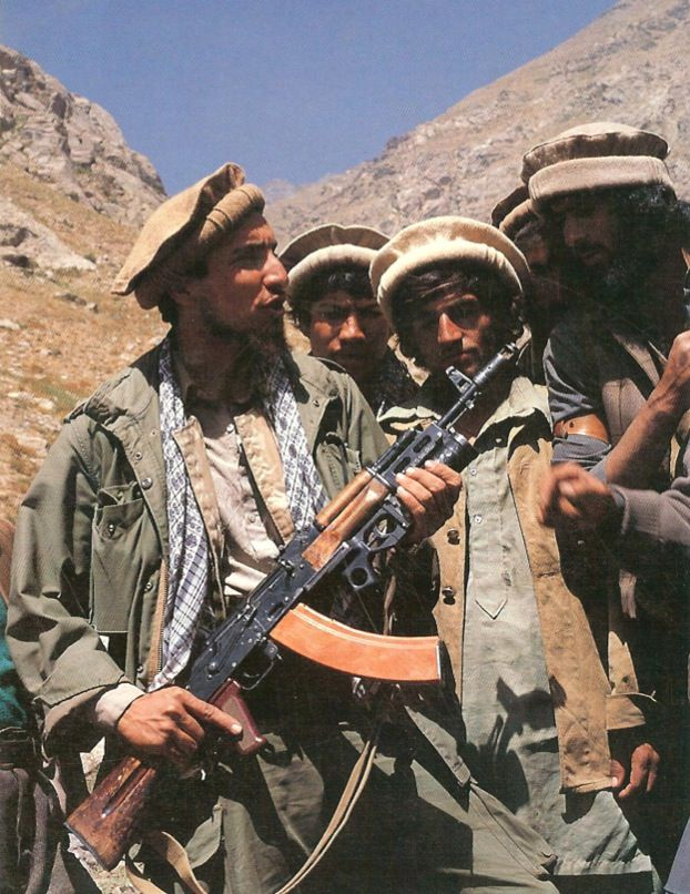""""""" The Mujahideen commander Ahmed Shah Massoud, with an AK-74 equipped with the BG-15 grenade launcher captured from the Soviet invaders of Afghanistan during the 1980s. Following the withdrawal of the Soviet ground..."""