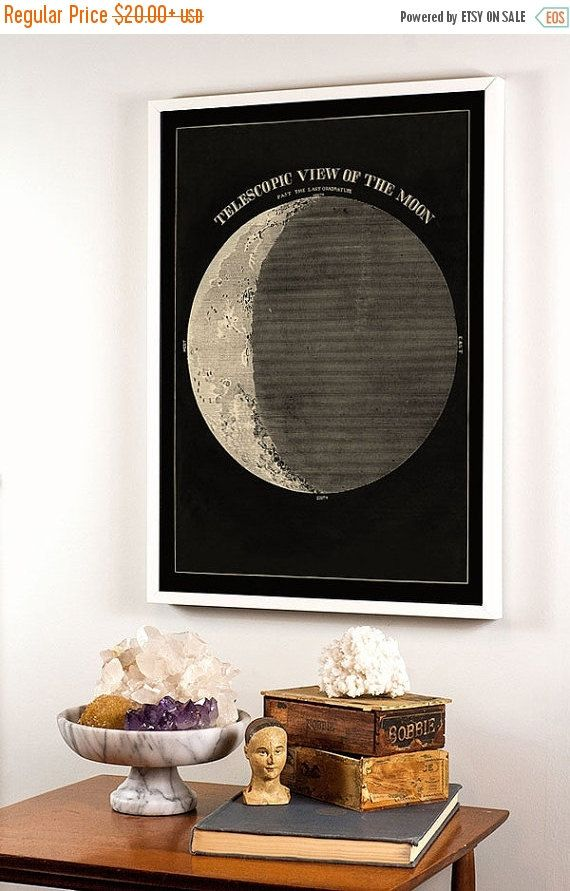 Moon Phases Art from the 19th Century in black by CapricornPress