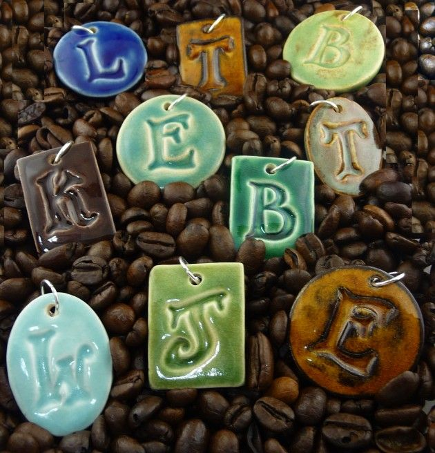"""Stoneware Letter Pendants"" ~ by Kathryn Depew // love love make and sell make to paint with spec glaze?"