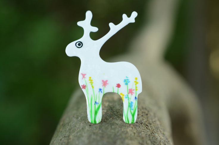 Handpainted Patterned Deer Brooch, Colorful Brooch, Stainless Steel Brooch, Stag Jewelry, Deer Jewelry, Animal Brooch, Nature Brooch by CinkyLinky on Etsy