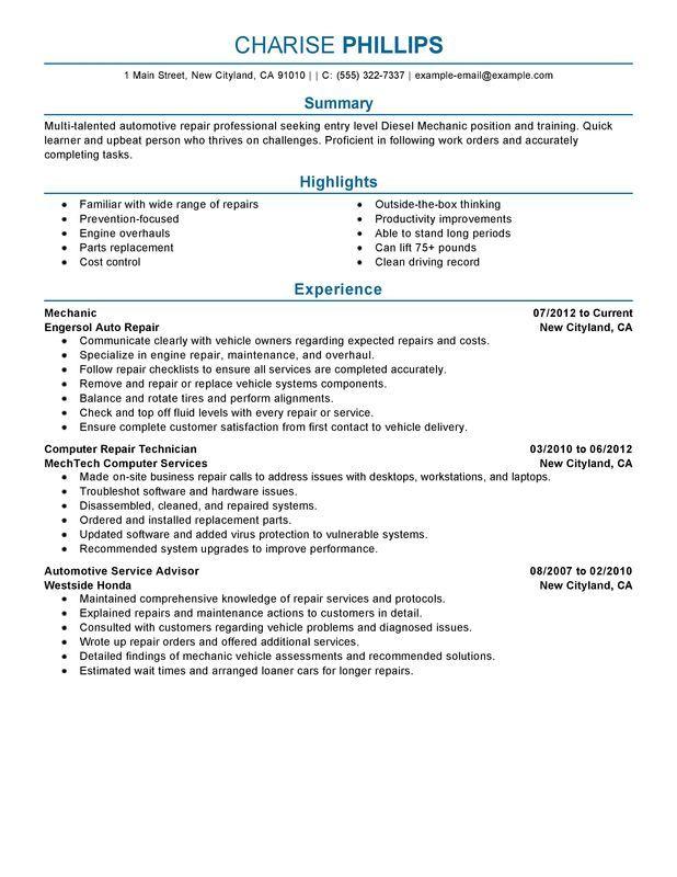 Entry Level Mechanic Resume Sample