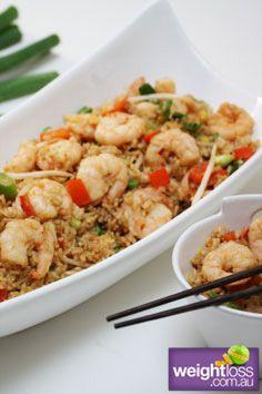 Healthy Dinner Recipes: Garlic Prawn Fried Rice. #HealthyRecipes #DietRecipes #WeightlossRecipes weightloss.com.au