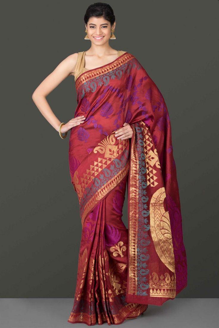 Ravishing Marsala Red Dupion Silk Saree With Gold Zari Border With Multicoloured Floral And Paisley Motifs