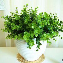 Pas cher! Hight qualité vert laisse européens 1 Bouquet fleurs artificielles Vivid faux feuille de mariage accueil parti décoration(China (Mainland))