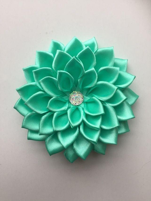 Mint green satin flower hair clip  £4.00