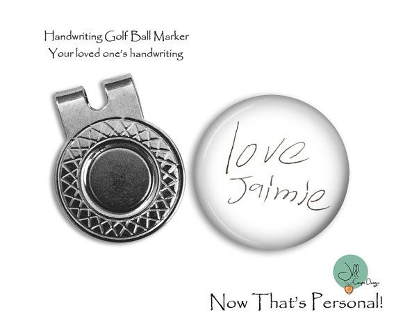 CUSTOM HANDWRITING Magnetic Golf Ball Marker & Clip set by NowThatsPersonal