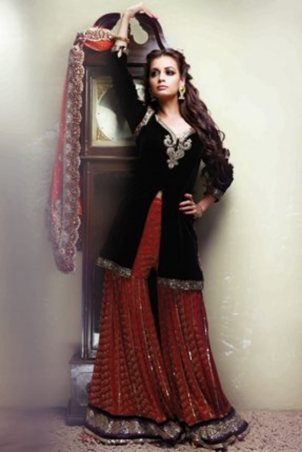 Dia Mirza In Black Amp Red Sharara In 2019 Indian Fashion