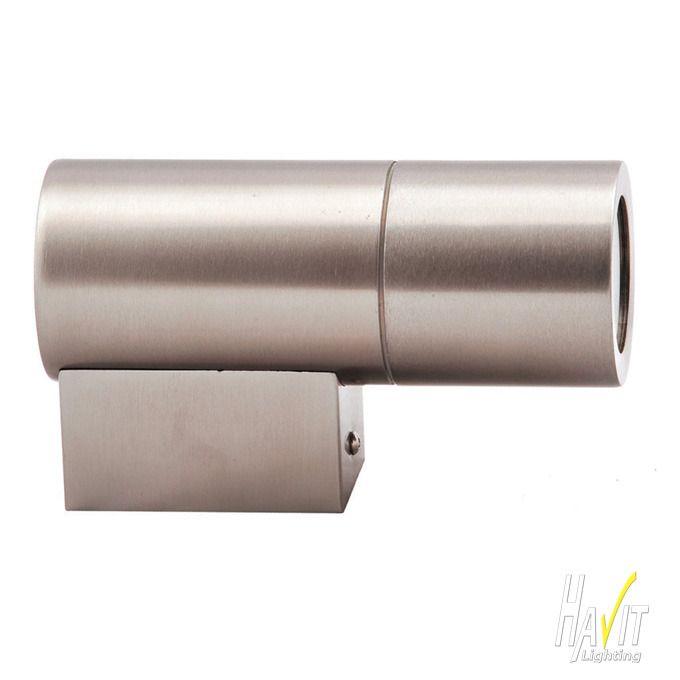 240V LED Outdoor Fixed Wall Pillar Light Long Body in Stainless Steel Havit $38.95