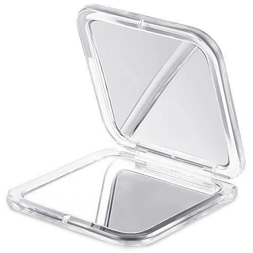 Jerrybox Tragbarer Taschenspiegel Zweiseitiger Kosmetikspiegel mit 1X / 5X Vergr��erung, Spiegel f�r unterwegs, Klappbarer Kompaktspiegel, Eckig, Silber