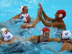 US women win 1st gold in Olympic water polo - CBS News