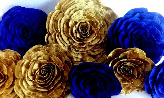 Royal Blue Gold Navy Prince Boy Large Paper Flowers Wall Decor