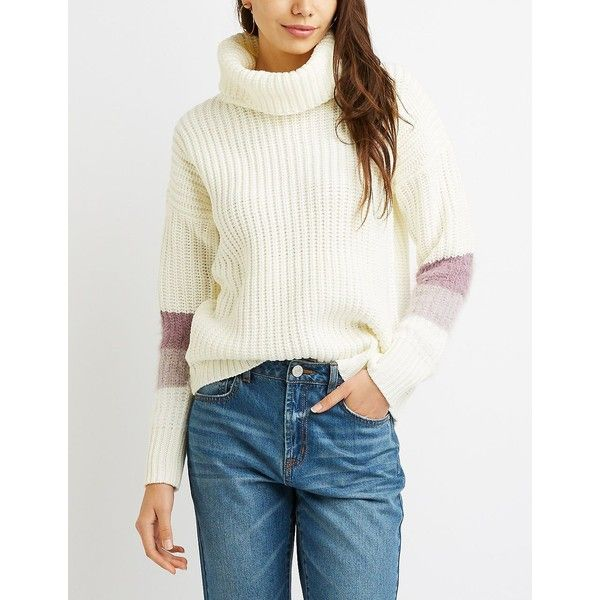 Charlotte Russe Striped Cowl Neck Sweater ($20) ❤ liked on Polyvore featuring tops, sweaters, multi, cowl neck pullover, turtleneck sweater, white cowl neck sweater, white turtleneck and mock neck sweater