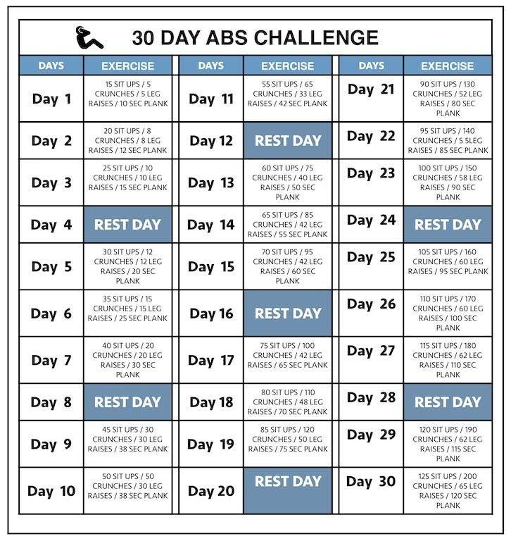 Workout Calendar Template 30 Day Abs Workout Challenge Workout