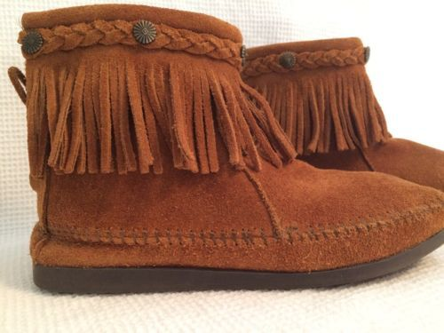 Minnetonka-Suede-Fringe-Ankle-Boots-Moccasins-Zip-Back-Womens-Size-8-EUC