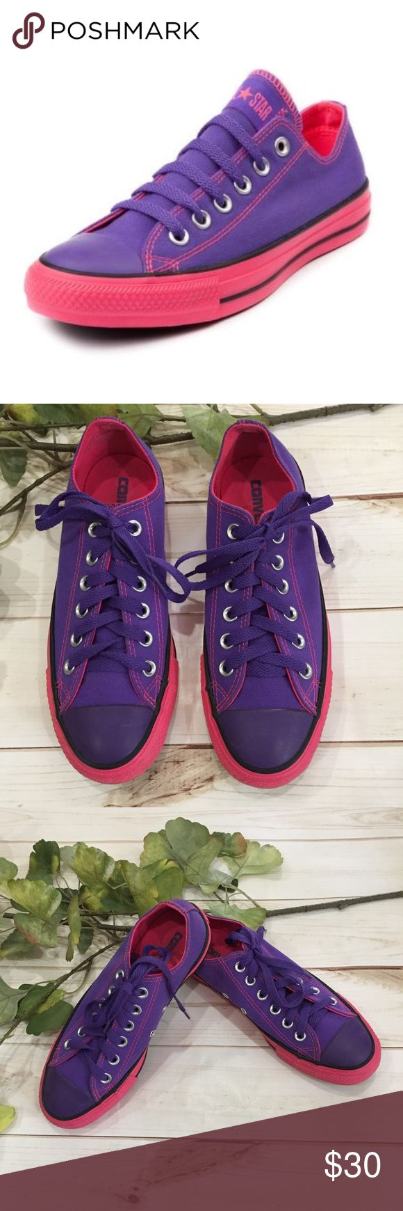 🦄Converse purple Chuck Taylor tennis shoes! 🦄Converse purple Chuck Taylor tennis shoes! These are super cute purple and pink Chucks that have been only worn a couple times and look great! These are perfect with a midi dress, shorts, or jeans. A great pop of color! Preloved in excellent condition. Converse Shoes Sneakers