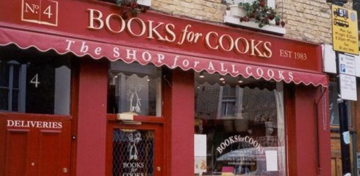 Wonderful cook book shop and café 'Books for Cooks' in Notting Hill, London.