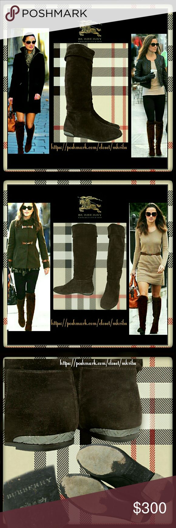 ❤ Burberry knee high brown boots size 6.5 Intelligent indulgence with these Burberry knee high chocolate brown flat suede boots. Pipa shows how you can wear anywhere with anything. Lightly worn with light fading of the suede near the back bottom heel and on bottom soles as shown. Otherwise,beautiful condition.  Eu size 36.5 No box. NO TRADES PLEASE! REASONABLE OFFERS WELCOME THROUGH OFFER FEATURE ONLY PLEASE! Burberry Shoes