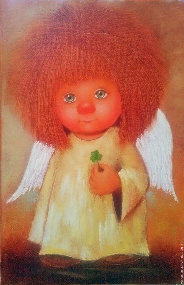 Купить Ангел удачи, картина маслом - ангел удачи, ангелочек, ангел на удачу, картина в подарок