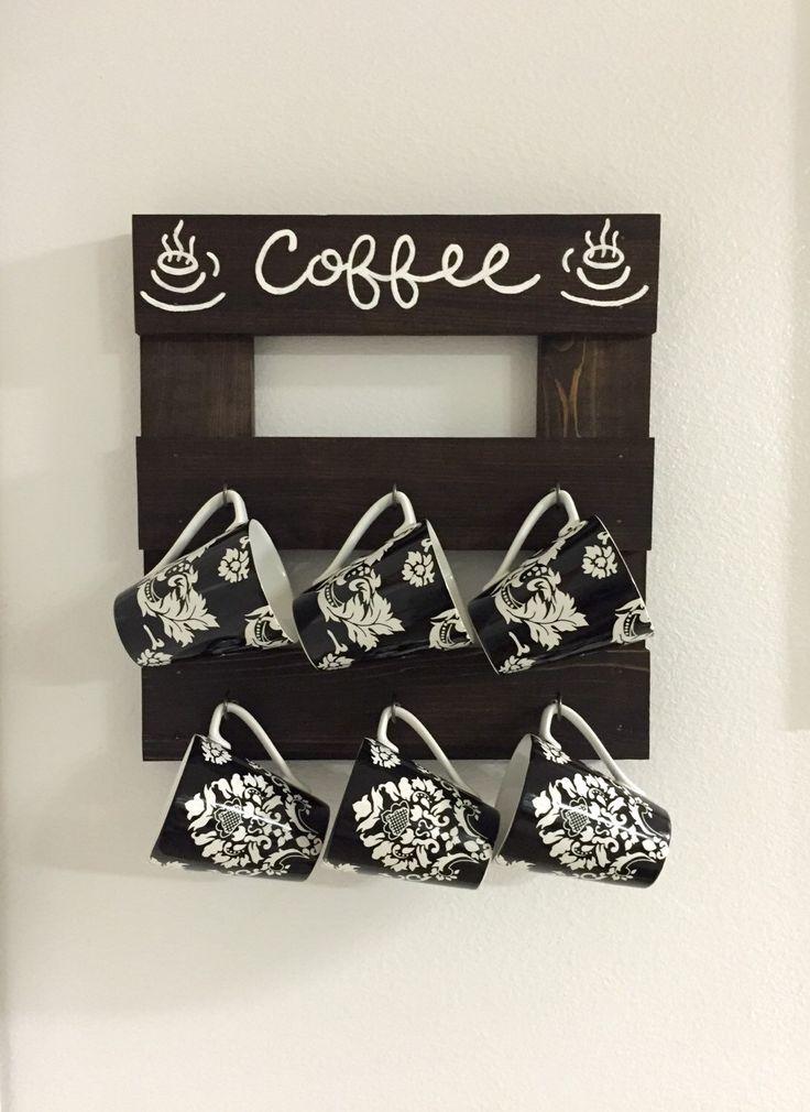Coffee mug holder, Coffee mug rack, Coffee cup display, Coffee cup storage, coffee decor, kitchen decor, wooden mug rack, kitchen storage by PeavyPieces on Etsy https://www.etsy.com/listing/253138886/coffee-mug-holder-coffee-mug-rack-coffee