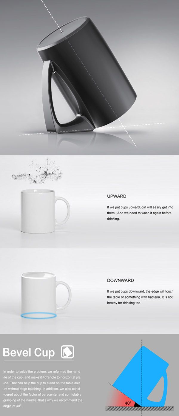 Keep germs out of your cups with the bevel cup.