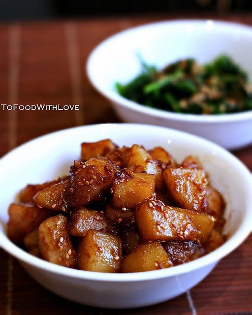 To Food with Love: Gamja Jorim (Potato Side Dish) (this was FANTASTIC. Everyone loved it. I put too much water so it wasn't as sticky as it should've been but the flavor was excellent. This is my new favorite potato side dish!)