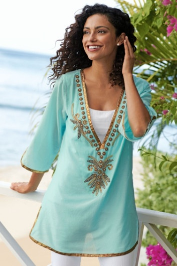 Byzantine Tunic - Gold Shimmery Embroidered Tunic, Tops, Clothing | Soft Surroundings