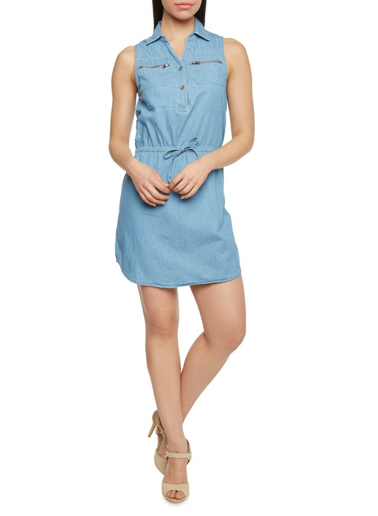 Sleeveless Denim Shirt Dress With Zipper Pockets,MEDIUM WASH