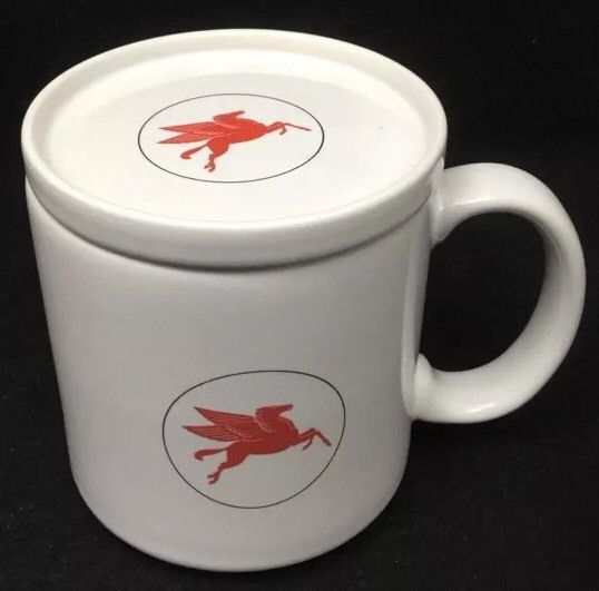Mobil Oil Coffee Mug Lid Vintage Logo Red Flying Pegasus