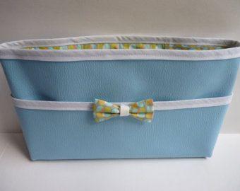 Organizador bolso imitación piel azul cielo/imitación cuero bmleu cielo e impresión redondo azul y verde/sesgo blanco/nodo