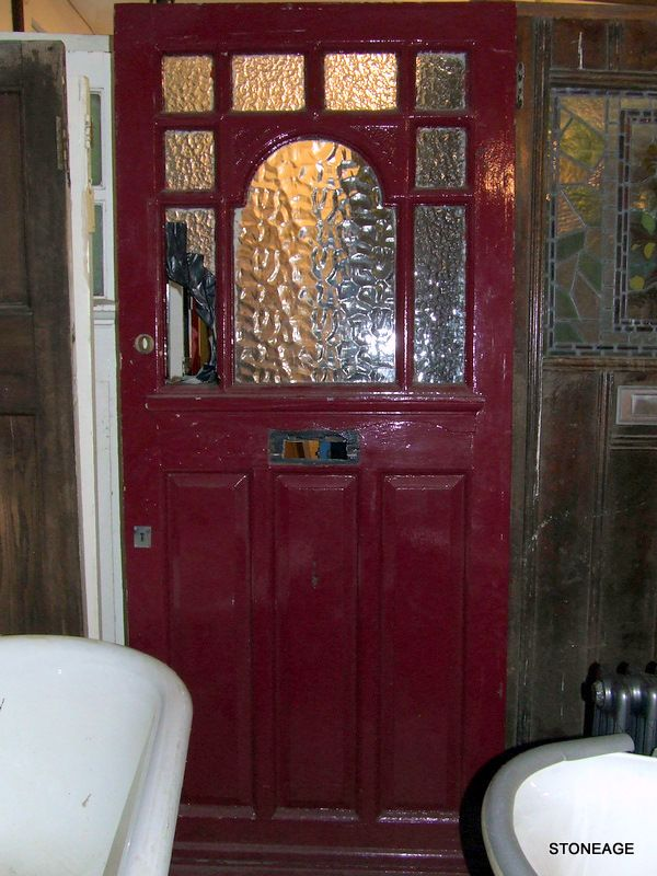 Edwardian Front Door. Imagine the stained glass panels I could design and make for this door. Wow