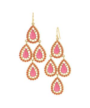 Fuchsia & Gold Chandelier Earrings | Pink Seychelles Chandeliers Stella and dot